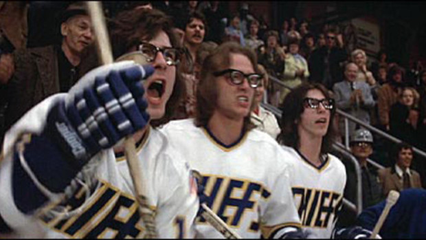The Hanson Brothers from the clip in Slap Shot