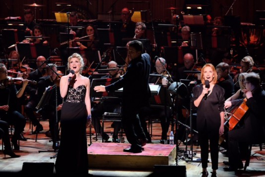 Scarlett Strallen (L) and Petra Siniawski (R) perform What I Did for Love from A Chorus Line, with the BBC Concert Orchestra, conducted by Keith Lockhart, as part of The Oliviers in Concert at the Royal Festival Hall.