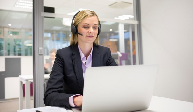 Female  business talk call center operator
